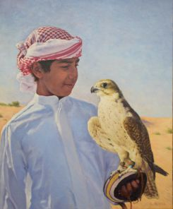 Young Arab With Falcon 61 x 50 cm