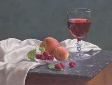 Wine and Raspberries 33 x 46 cm