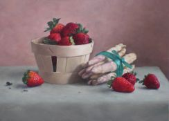 Asparagus and Strawberries 27 x 35 cm